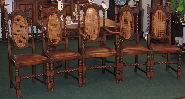 - Five Oak English Barley Twist Chairs