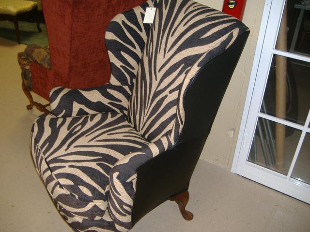 Black Leather Zebra Wingback Chair