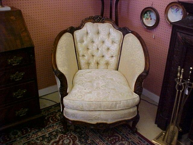 - French Barrel Back Chair With Ornately Carved Wood Framing